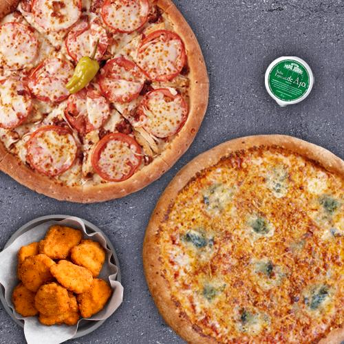 2 Pizzas Medianas Especiales + pechugitas (Antes 35,4€)